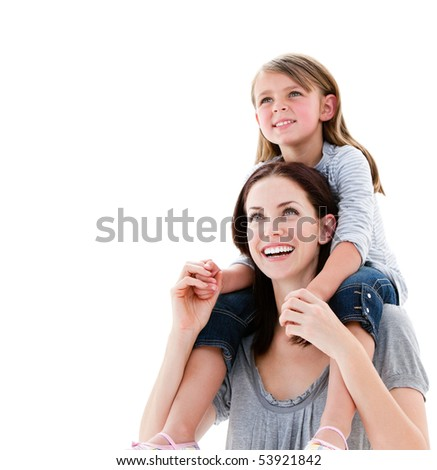 Cheerful mother giving piggyback ride to her daughter against a white background