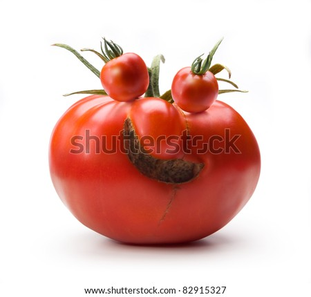 Cheerful Mr.Tomato isolated on white background