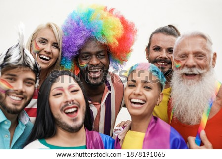 Cheerful multiracial people from different generations at gay pride parade - Concept of lgbt and homosexual love Stockfoto ©