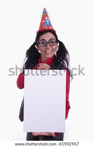 Cheerful nerdy woman holding an blank card - similar available