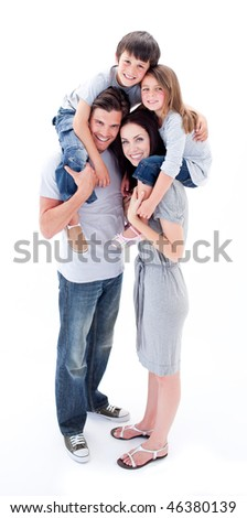 Cheerful parents giving their children piggyback ride against a white background