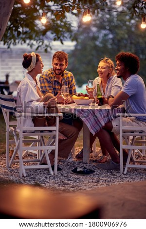 Cheerful people having  at party.Happy friends having beer party in summer evening.