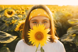 Cheerful playful young woman posing on camera alone. Cover mouth with yellow sunflower blossom. Big natural harvest field behind. July August or September period