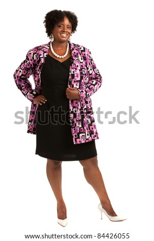 Cheerful Plus Size Businesswoman Standing Isolated on White Background
