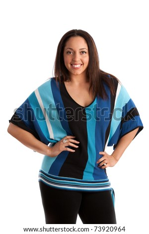 Cheerful Plus Size Model Standing on white background