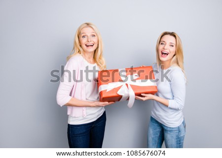 Cheerful positive wondered glad amazed mother and daughter enjoying holiday having big gift case in red package with white bow wearing casual outfits jeans isolated on grey background