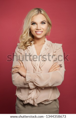 Cheerful pretty woman with pretty smile and arms crossed on pink. Successful blonde girl portrait #1344358673