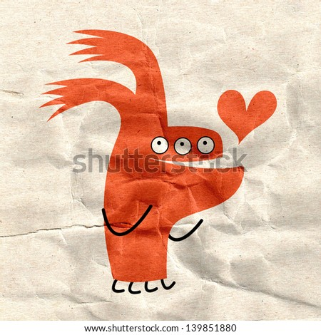 cheerful red-eared monster with a heart on the background of crumpled paper