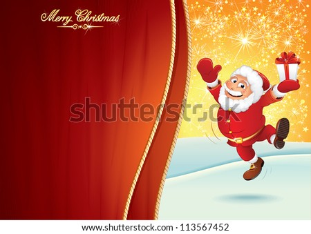 Cheerful Santa Claus with Gift Box. Festive Christmas Background