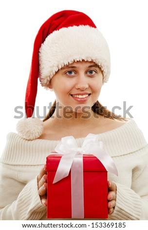 Cheerful Santa girl with gift box isolated