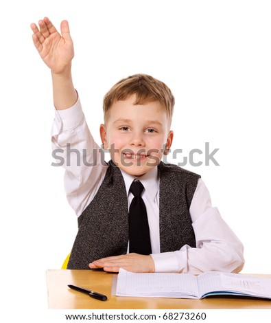 Cheerful Schoolboy ready to answer question isolated