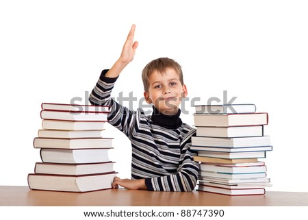 Cheerful Schoolboy ready to answer question isolated on a white background