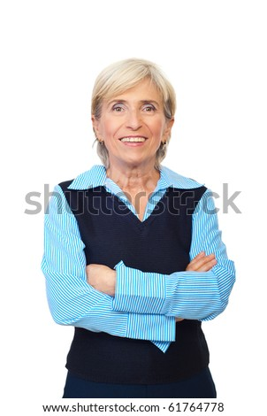 Cheerful senior executive woman standing with arms folded and smiling isolated on white background