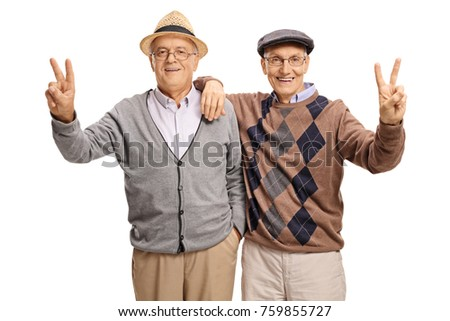 Cheerful seniors making peace signs isolated on white background