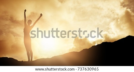 cheerful slim woman standing on weighing scale against blue sky with white clouds
