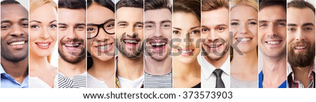 Cheerful smile. Collage of diverse multi-ethnic young people expressing positive emotions and smiling