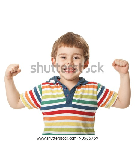 cheerful smiling little boy raised his hands up. Isolated on white background.  shooting in the studio