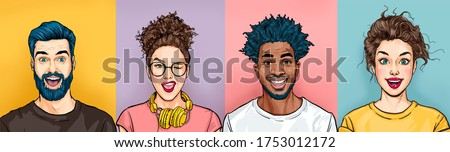 Cheerful smiling people has excited expression, dresssed casually, celebrates  something. Amazed  happy men and women. Portrait of diverse mixed race human being in good mood.