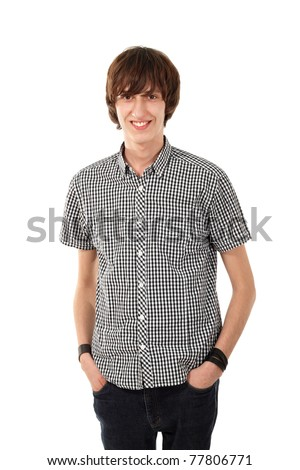 cheerful teen boy isolated on white background
