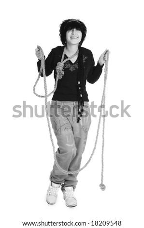Cheerful the Suicide on a white background - stock photo