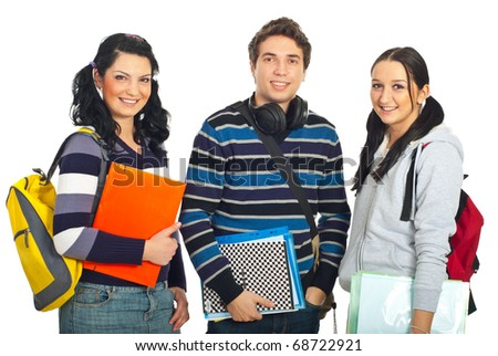 Cheerful  three students standing in a row and smiling isolated on white background