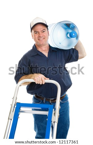 Cheerful water delivery man pushing his hand cart with a 5 gallon jug on his shoulder.  Isolated on white.