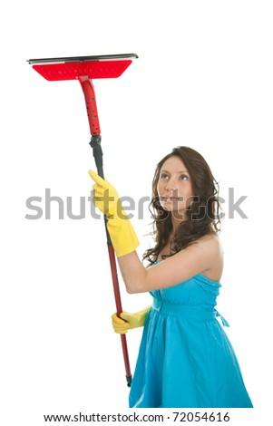 Cheerful woman cleaning window