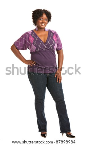 Cheerful Young African American Plus Size  Woman Full Body Length Portrait on White Background Isolated