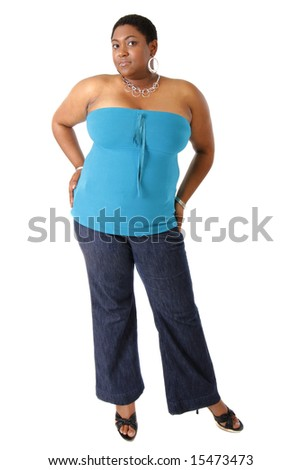 Cheerful Young African American Woman Dressed in Casual on White Background