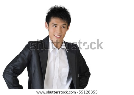 Cheerful young businessman portrait on white background. #55128355