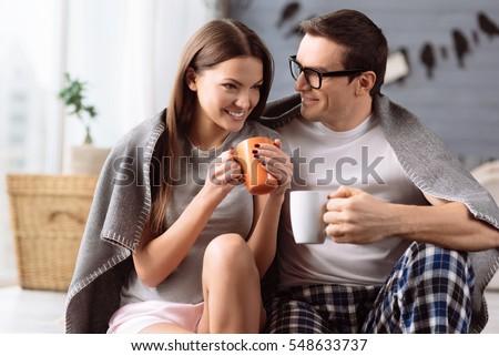 Cheerful young couple enjoying coffee #548633737