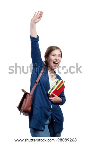 Cheerful young female student waving with a clipboard in hand on white background