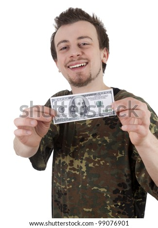 cheerful young man in camouflage shirt holding one hundred dollars in a hand; white background