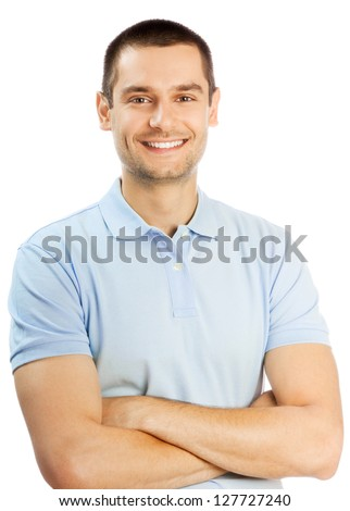 Cheerful young man, isolated over white background