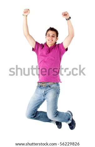 Cheerful young man jumping - isolated over a white background