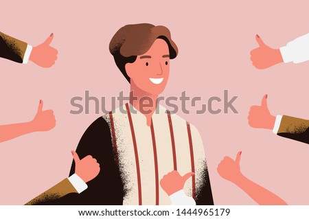 Cheerful young man surrounded by hands demonstrating thumbs up gesture. Concept of public approval, positive opinion, respect, recognition, honor and appreciation. Flat cartoon illustration