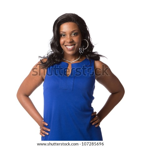 Cheerful Young Plus Size African American Woman Portrait on White Background Isolated