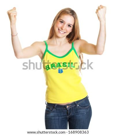 Cheering brazilian sports fan with long blond hair