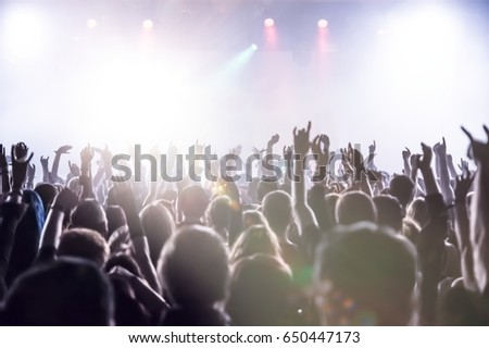 cheering crowd at a rock concert #650447173