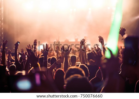 Cheering crowd with hands in air at music festival #750076660