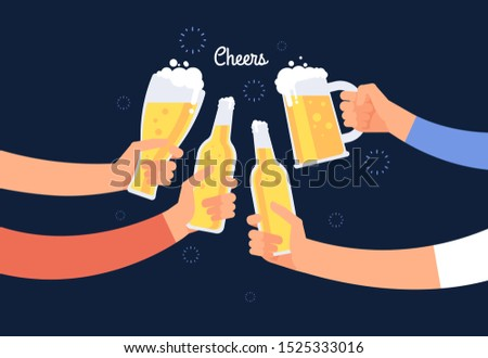 Cheering hands. Cheerful people clinking beer bottle and glasses. Happy drinking holiday background