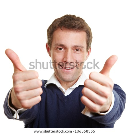 Cheering happy man holding both thumbs up