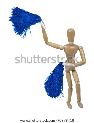 Cheerleader celebrating team cheer by waving pom poms - path included