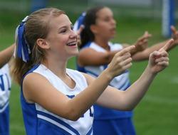 Cheerleader cheering at Football Game 4