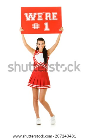 stock photo: cheerleader with sign