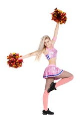 Cheerleader with pompoms, full length portrait of happy smile girl wearing pink uniform, posing isolated over white background, series photo
