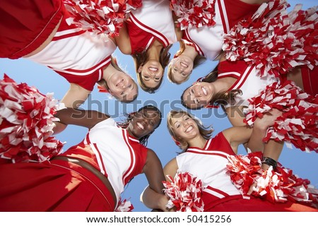Cheerleaders in Huddle, view from below, (view from below)