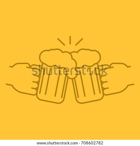 Cheers color linear icon. Hands holding toasting beer glasses. Thin line outline symbols on color background. Raster illustration
