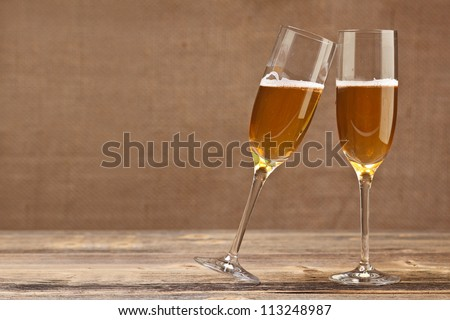 Cheers concept, two champagne glasses