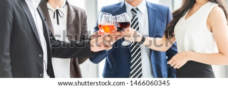 Cheers! Cropped Image of Business People Celebration Toast with red wine after meeting. Multiethnic Celebrating.